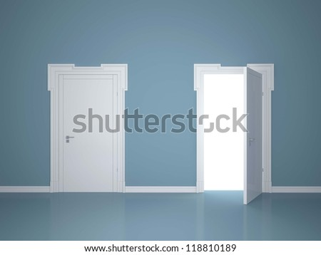 Open and closed the door on the blue wall background