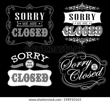 royalty free open vintage retro signs vector 183527306 stock photo