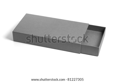 Open and empty rectangular flat gift box on white background
