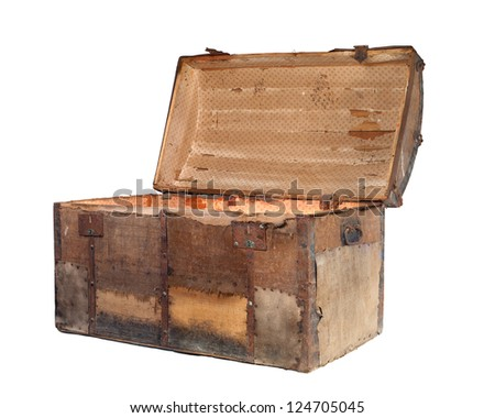 Open antique box or treasure chest on a white background.