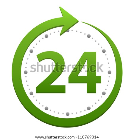 Open around the clock, 24 hours a day icon isolated on white background. Stylized green icon - stock photo