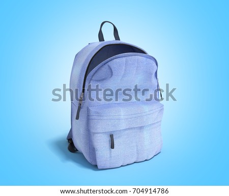 open Backpack bag school 3d render on blue gradient