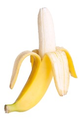Open banana isolated on white background