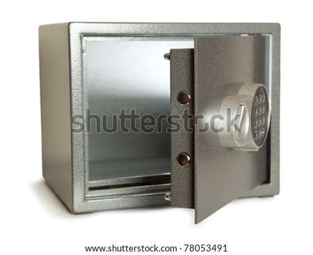 Open bank safe isolated on white