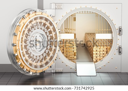 Open Bank Vault with golden ingots, 3D rendering
