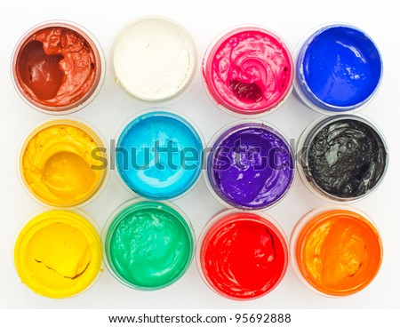 Open banks of a paint with different colours