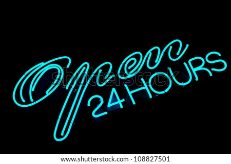 open bar restaurant 24 hours blue neon sign on black