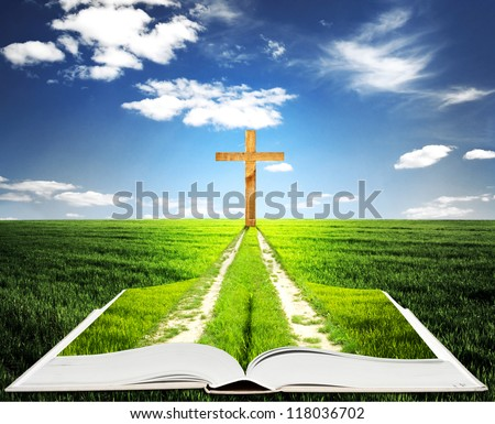 Open bible with grass and a way walking towards a cross