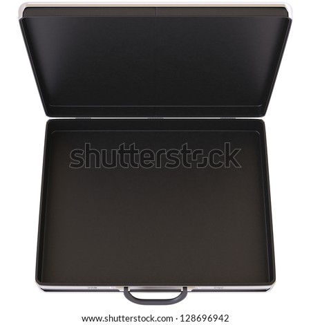 Open black case. Isolated on white.