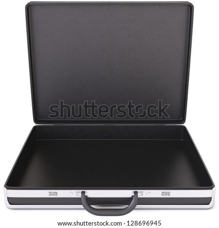 Open black case. Isolated on white.