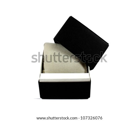 Open black gift box  on white