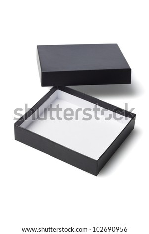 Open Black Gift Box on White Background