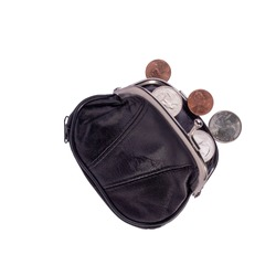 Open black leather pocket wallet with coins one cent and a quarter dollar nearby. Financial crisis, poverty, lack of money. Isolated on white background. Flat lay. Top view. Close-up.