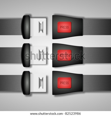 Open black safety seat belts on a gray and white background / Safety belts