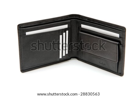 Open black wallet with white business cards