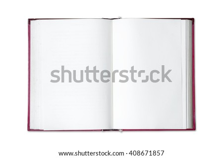 Open blank book isolated on white background. #408671857