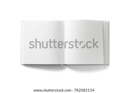 Open blank book on white background. Isolated with clipping path. Flat lay. #782082154