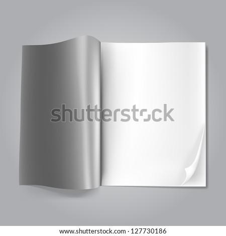 open blank magazine on grey