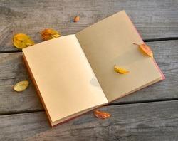 Open blank note book on grunge wood