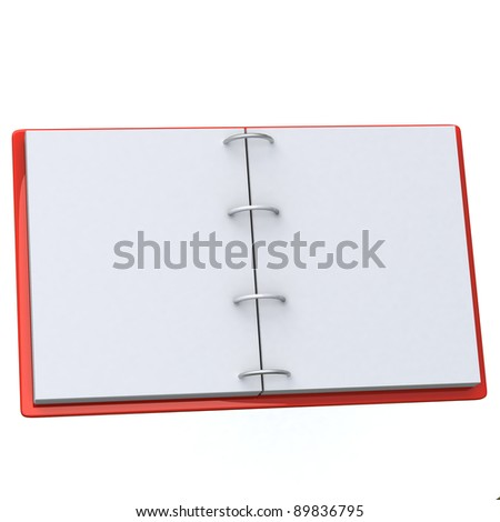 Open blank paper block with red cover 3d