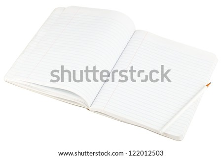 Open blank paper notebook with lined pages and pencil isolated on white background