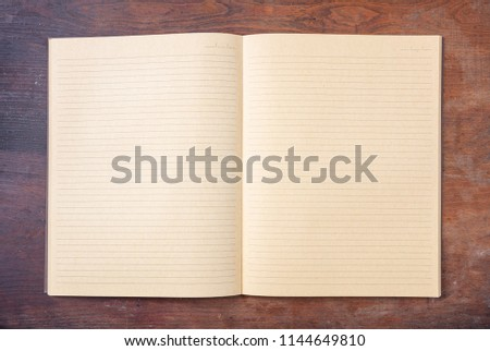 Open Blank School Notebook Or Diary, Old Fashioned, Isolated On Wooden Desk,  Space