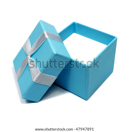open blue box for gifts isolated on white background