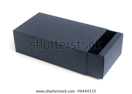 Open blue box on a white background