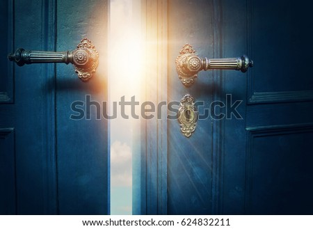 Open blue door and sunshine