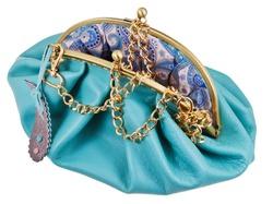 open blue leather retro style handbag isolated on white background