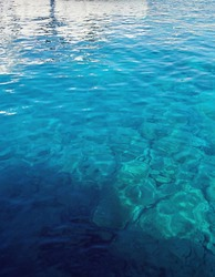 Open Blue Mediterranean Sea Shot from Yacht Cyprus Background