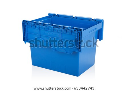 Open blue plastic box on white background with reflection. #633442943