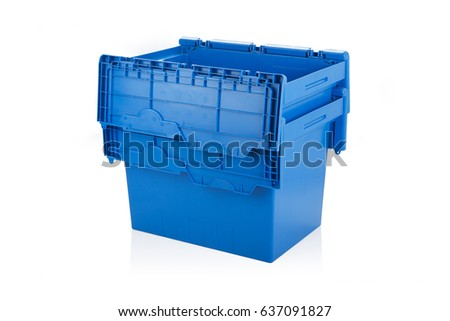Open blue plastic box on white background with reflection. #637091827