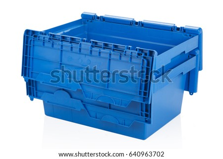 Open blue plastic box on white background with reflection. #640963702