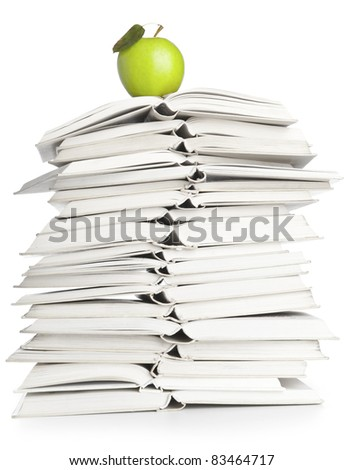 Open Book and Apple - stock photo