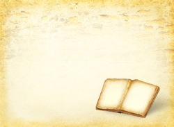 Open book and empty pages. Ancient blank pages of the history book on the grunge background. Antique book with empty paper background.