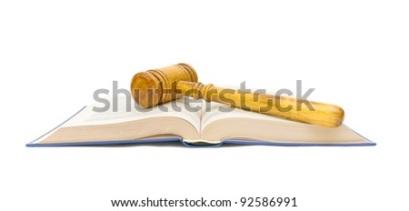 open book and gavel isolated on white close-up