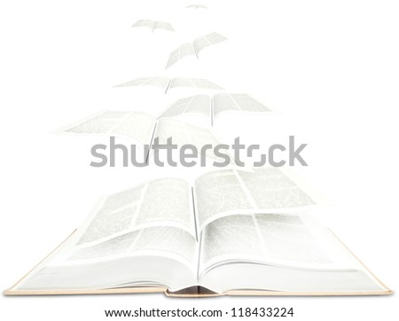 Open book and pages flying