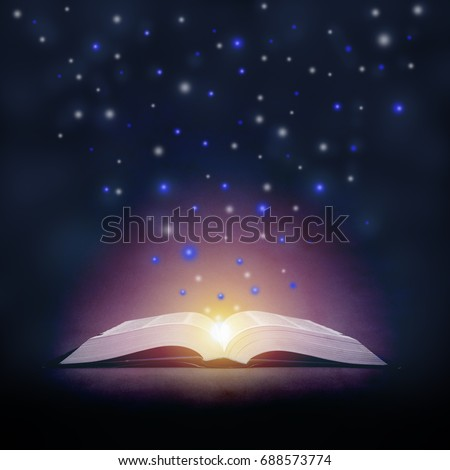 open book and stars from it