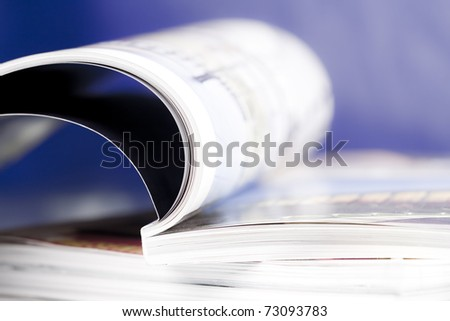 Open book blue background