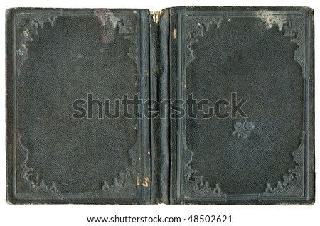 Open book - circa 1880 - old cover isolated on white - canvas - with clipping path - XL size