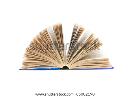 open book close-up isolated on a white background