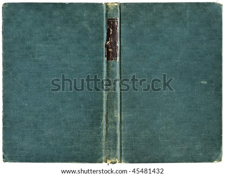 Open book cover in green canvas - isolated on white - with clipping path - XL size