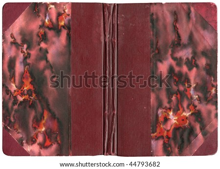 Open book cover in red canvas - isolated on white - with clipping path - XL size