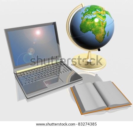 Open book, globe and laptop - stock photo