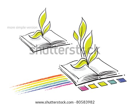 Open book icon (with a rainbow and a plant seedling, two versions)  (raster version)