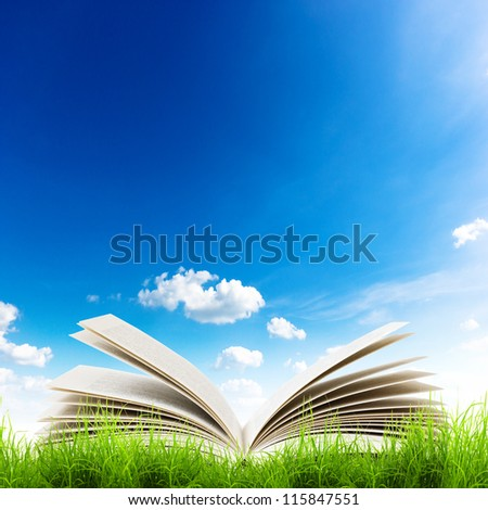 Open book in green grass over blue sky. Magic book background