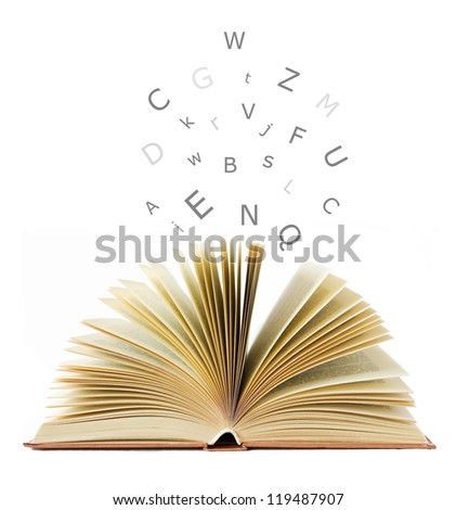 Open book isolated on white and letters flying away.Education concept