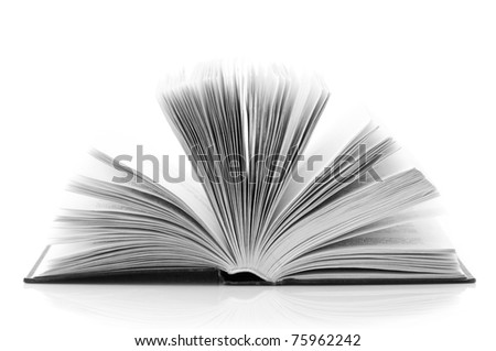 Open book isolated on white background. B&W image.