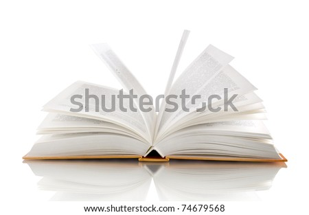 open book isolated on white with reflection
